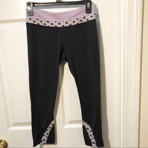 Lululemon black purple dot inspire crop leggings